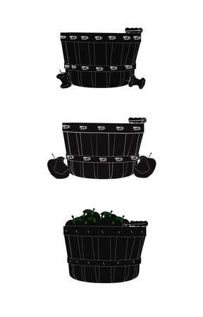 bushel: apple harvest silhouettes concept