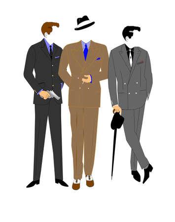 gangsters met pistool Stock Illustratie