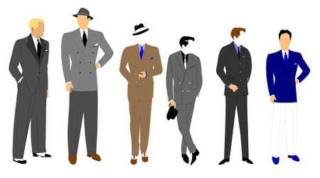 double breasted: hombres s moda de estilo retro Vectores