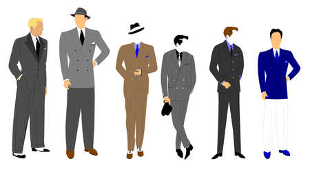 old man standing: men s  fashions retro style  Illustration