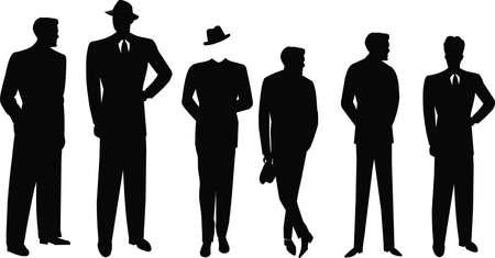 retro men in silhouette