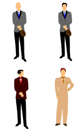 gray suit: retro men in suits and ties Illustration