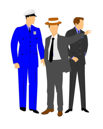 detain: retro policeman talking to men