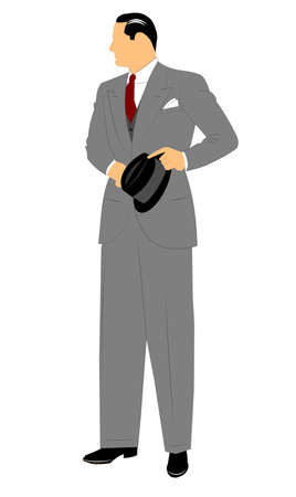 era: man in suit with vest and holding frdora