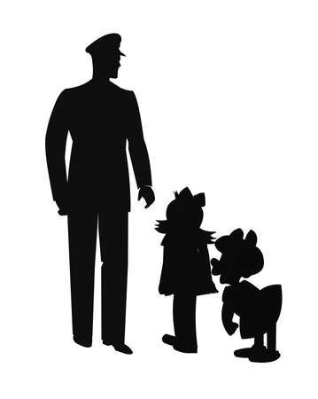 talking: policeman talking to two young children in silhouette