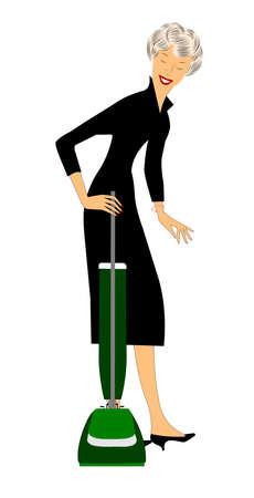 lady stofzuigen Stock Illustratie