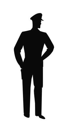 enforcement: policeman in silhouette with arm on hip