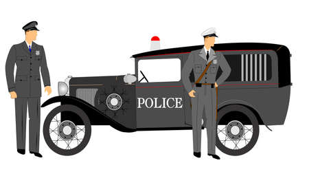 cops: police car with policemen standing beside it Illustration