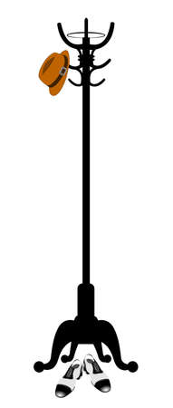 fedora: fedora hanging from coat stand with shoes  Illustration