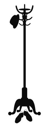fedora hanging from coat stand with shoes at base silhouette Иллюстрация