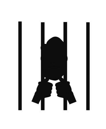 capital punishment: man behind bars in silhouette  Illustration