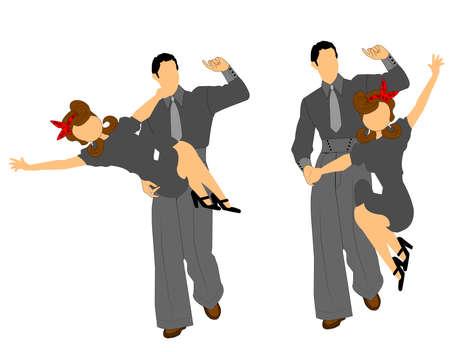 swing dancers in 2 styles