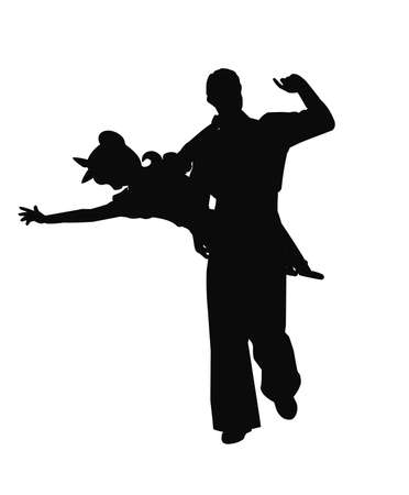 40 s: swing dancer silhouette with boy holding girl in mid air