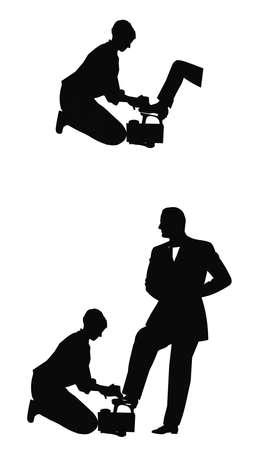 schoenenpoetser in silhouet Stock Illustratie