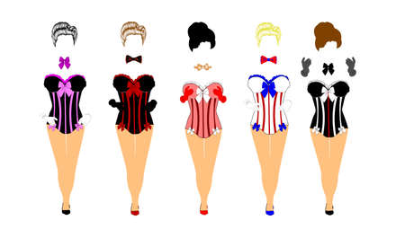 women in corsets and bow ties  Vector