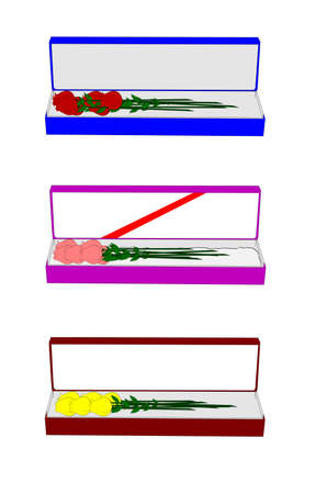 long stem: variety of colored long stem roses in box