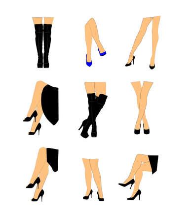 Frauen Beine in verschiedenen Positionen Vektorgrafik
