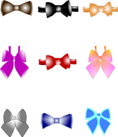 bow ties set for men and women  Illustration