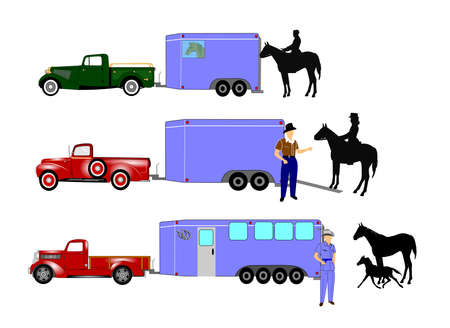 horse trailer with horses and cowboys