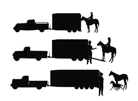 horse trailers with cowboys in silhouette Ilustração