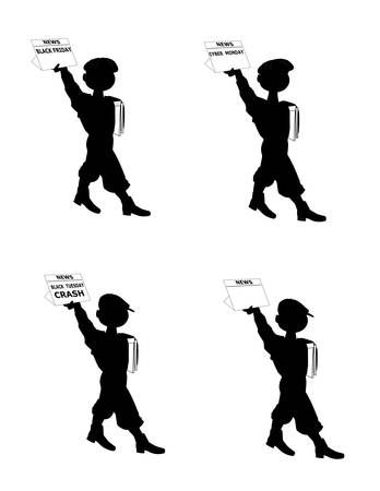 child poverty: newsboys in silhouette