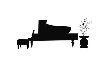 ivories: baby grand piano silhouette