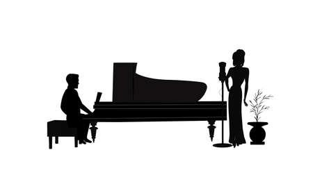 실루엣의 피아노 연주와 여성 가수 일러스트