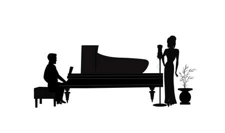 female singer with piano player in silhouette Illustration