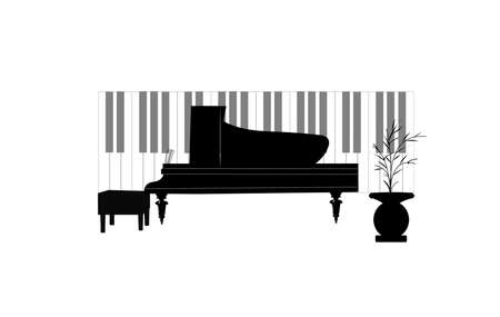 etude: piano concept with keys  Illustration