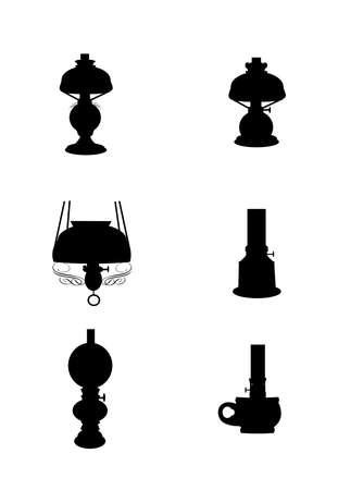 vintage kerosene lamps set