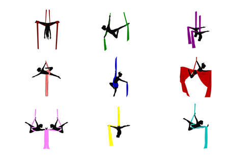 acrobatic: silk aerial dancers in color set  Illustration