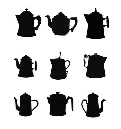 non: vinatge non electric coffee pots set in silhouette Illustration