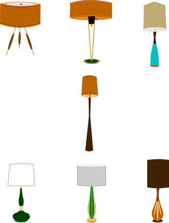 classic living room: retro style household lamps  Illustration