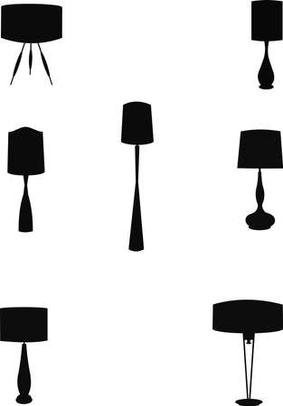 bedside: retro style household lamps in silhouette set