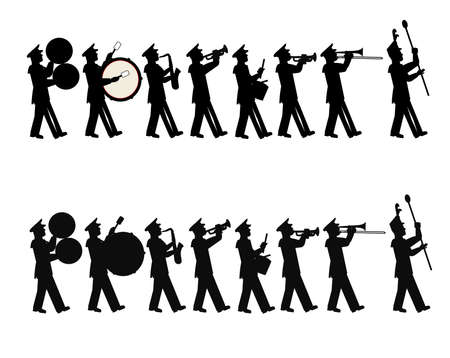 marching band in 2 stili Vettoriali