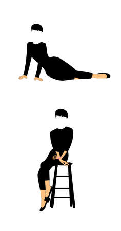 sit down: lady posing laying down and sitting  Illustration