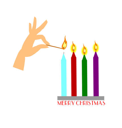 lady lighting tapered candles for christmas  Иллюстрация