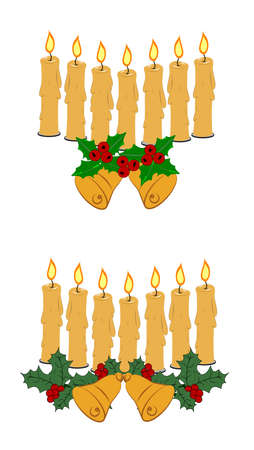 candles in alignment with bells and ferns  일러스트