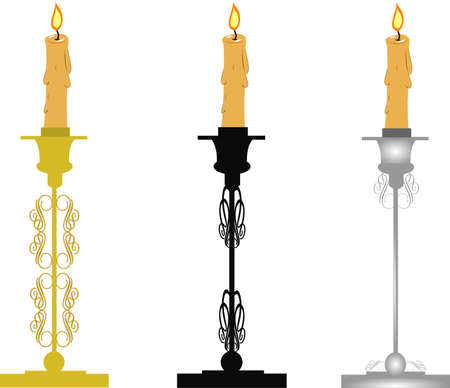 candlesticks in ornate design for holidays Ilustracja