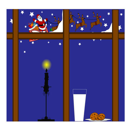 milk and cookies for santa background concept Stock Vector - 24528033