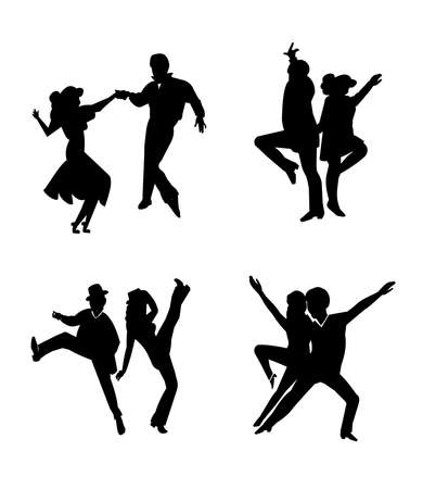 60s: daancers in silhouette Illustration