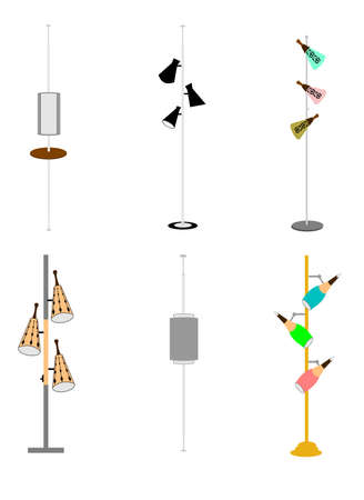 vintage household pole lamps from sixties Ilustrace