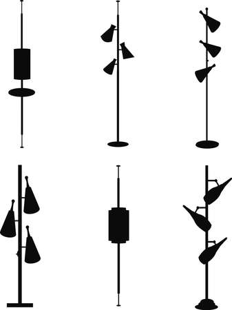 vintage household pole lamps from sixties in silhouette Vector