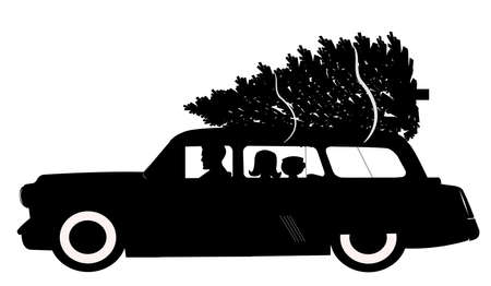 woody: christmas tree shopping in silhouette  Stock Photo