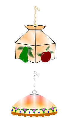 60's: vintage tiffany style swag lamps  Illustration