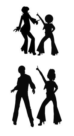 polyester: disco dancers in silhouette  Illustration