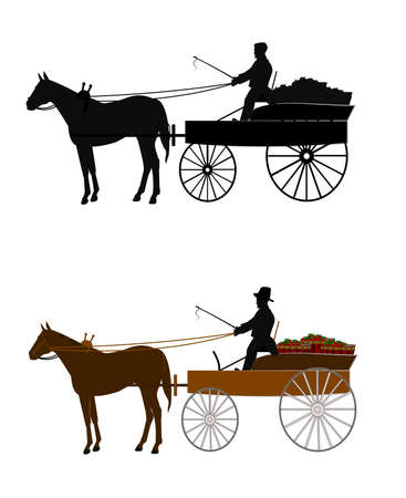 man riding a buckboard wagon to market  Vector