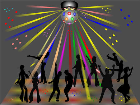 disco club with dancers in silhouette