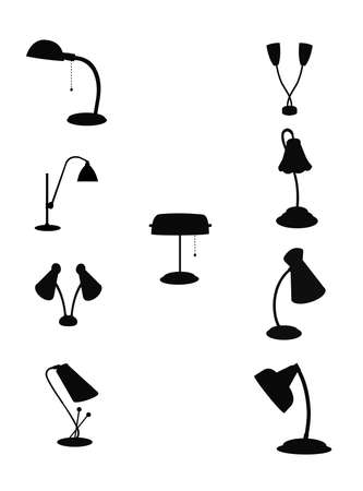 retro gooseneck lamps in silhouette from sixties Illustration