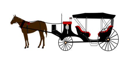 horse and carriage: vintage horse drawn carriage  Illustration